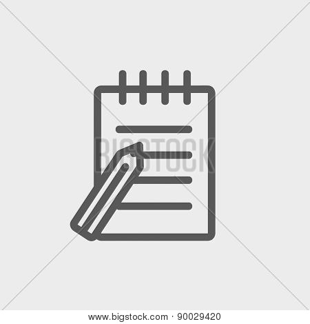 Writing pad with pen icon thin line for web and mobile, modern minimalistic flat design. Vector dark grey icon on light grey background.