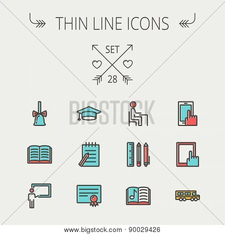 Education thin line icon set for web and mobile. Set includes- - graduation cap, notepad with pen, certificate, bell, book, music book,teacher, blackboard, school supplies icons. Modern minimalistic