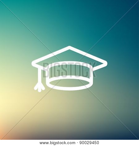 Graduation cap icon thin line for web and mobile, modern minimalistic flat design. Vector white icon on gradient mesh background.