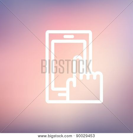 Mobile phone icon thin line for web and mobile, modern minimalistic flat design. Vector white icon on gradient mesh background.