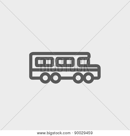School bus icon thin line for web and mobile, modern minimalistic flat design. Vector dark grey icon on light grey background.