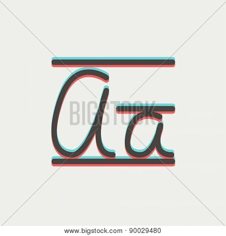 Cursive letter a icon thin line for web and mobile, modern minimalistic flat design. Vector icon with dark grey outline and offset colour on light grey background.