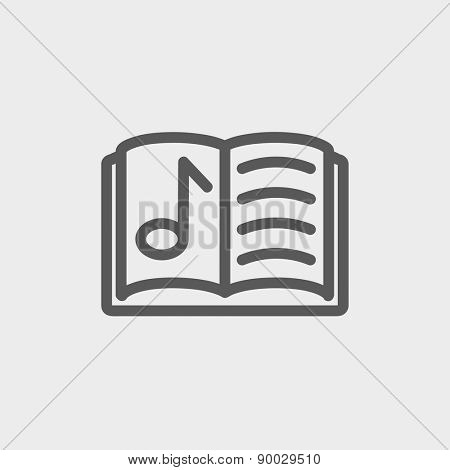 Musical book icon thin line for web and mobile, modern minimalistic flat design. Vector dark grey icon on light grey background.