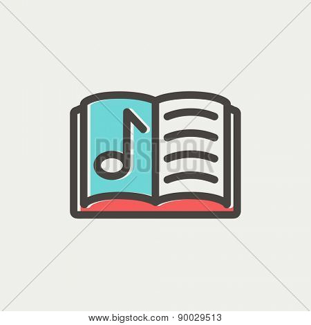 Musical book icon thin line for web and mobile, modern minimalistic flat design. Vector icon with dark grey outline and offset colour on light grey background.