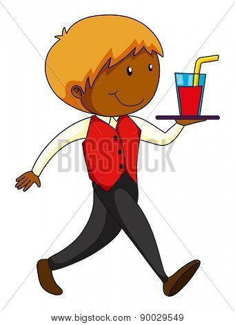 Closeup waiter serving a glass of juice