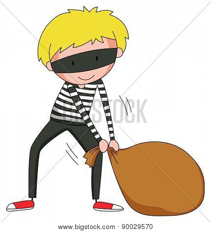 Close up robber dragging brown bag