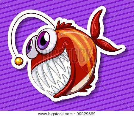 Close up happy fish with purple background