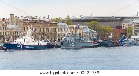 Warships Stands In A Row On The Neva River