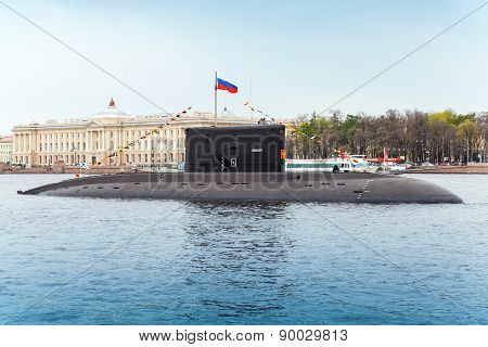 Submarine Vyborg Stands Moored On The Neva River