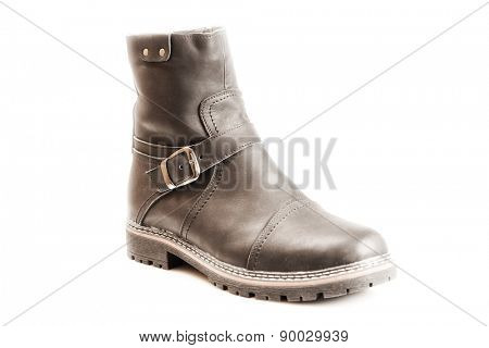 Men's winter boot with zipper and locking buckle