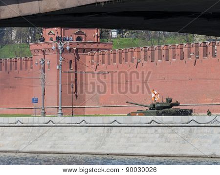 Armata Tank Decorated With The Flag