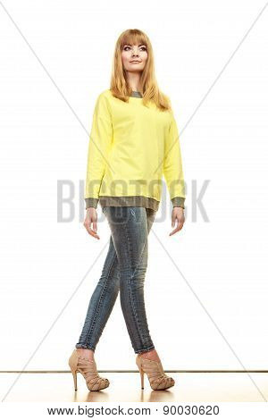 Blonde Fashionable Woman In Yellow Blouse