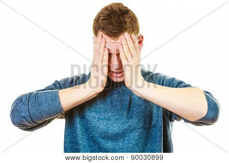 Closeup Stressed Man Holds Head With Hands