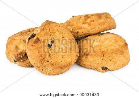 Heap Of Sweet Cookies With Raisins