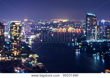 Abstract, Night Cityscape Light Blur Bokeh