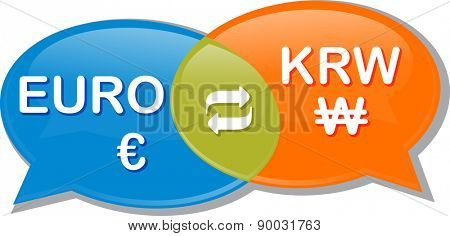 Illustration concept clipart speech bubble dialog conversation negotiation of currency exchange rate Euro KRW Korean Won vector