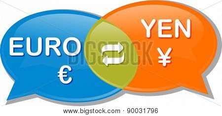 Illustration concept clipart speech bubble dialog conversation negotiation of currency exchange rate vector