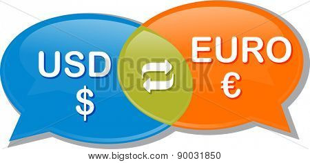 Illustration concept clipart speech bubble dialog conversation negotiation of currency exchange rate Euro USD vector