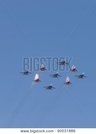Aerobatic Team Strizhi And Russian Knights