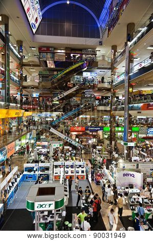 People Inside The Pantip Plaza, The Bigges Electronic And Software Shopping Complex In Thailand