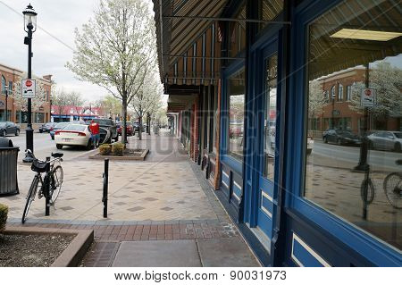 Storefronts in Downtown Plainfield, Illinois