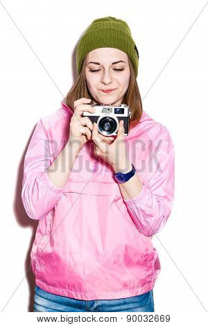Cheerful Hipster Girl With Camera