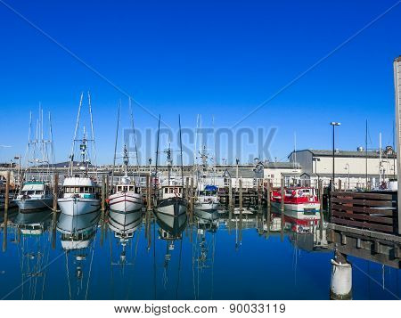 Boats at Fisherman`s Wharf in San Francisco