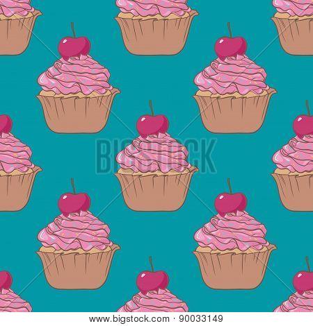 Cupcake Seamless Vector Pattern