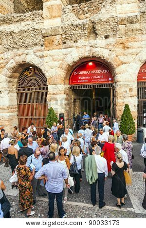 Visitors Wait Outside The Arena Di Verona For Entrance