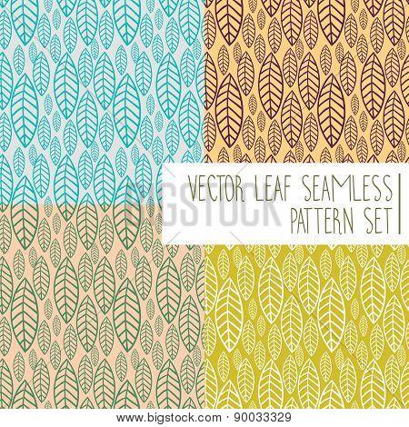 Vector Leaf Seamless Pattern Set