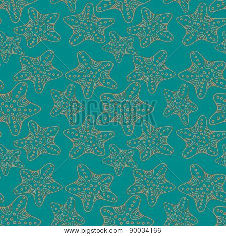 Starfish seamless vector summer pattern