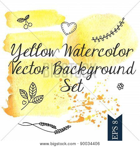 Yellow watercolor vector background