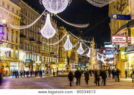 Famous Graben Street At Night
