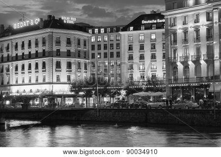 GENEVA - SEP 15: Geneva downtown at night on September 15, 2014 in Geneva, Switzerland. Geneva is the second most populous city in Switzerland and is the most populous city of Romandy