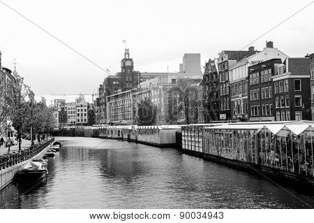 AMSTERDAM, NETHERLANDS - 18 MAY: Canals of Amsterdam on 18 May 2009 in Amsterdam, Netherlands. Amsterdam is the capital and most populous city of the Netherlands.
