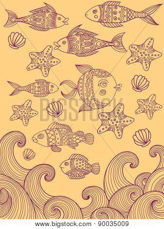Sea ornate fish vector set