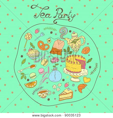 Tea party vector pattern set