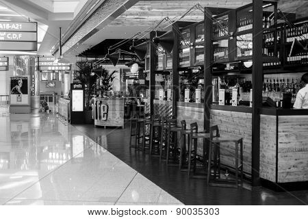 DUBAI, UAE - FEB 13: cafe in Emirates Terminal 3 at Dubai Airport on February 13, 2013. It is world largest building by floor space and world largest airport terminal.