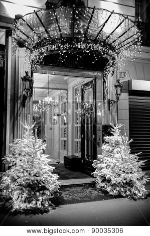 PARIS - DEC 8: entrance of Westminster Hotel in Paris, France on December 8, 2008. Named after the Duke of Westminster, who resided in this sumptuous property in the 19th Century