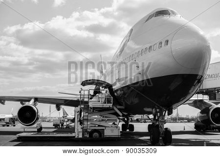 MOSCOW, RUSSIA - APRIL 22, 2013: British Airways jet aircraft in Domodedovo airport of Moscow on April 22, 2013. British Airways is the flag carrier airline of the United Kingdom