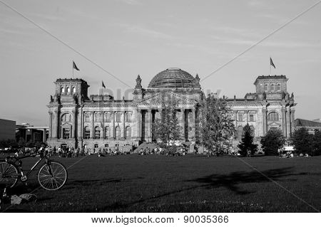 BERLIN, GERMANY - MAY 23, 2012: The Reichstag building in Berlin. The Reichstag building is a historical edifice in Berlin, Germany, constructed to house the Imperial Diet, of the German Empire