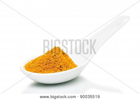 Curry Powder In Porcelain Spoon