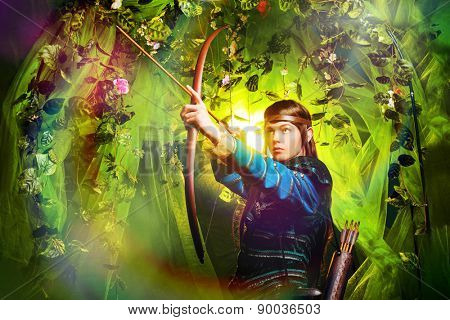 Portrait of a male elf with a bow and arrows in a magical forest.