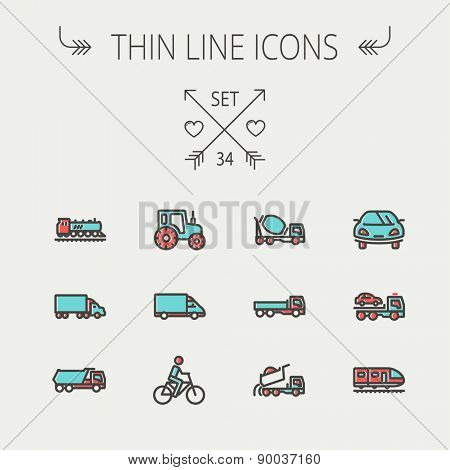 Transportation thin line icon set for web and mobile. Set include-sports car, trucks, vans, bicycle, towing truck, mixer truck, train icons. Modern minimalistic flat design. Vector icon with dark grey
