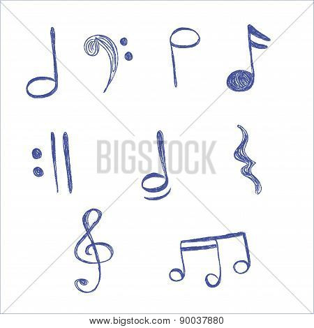Music, Notes, vector, illustration, hand drawing