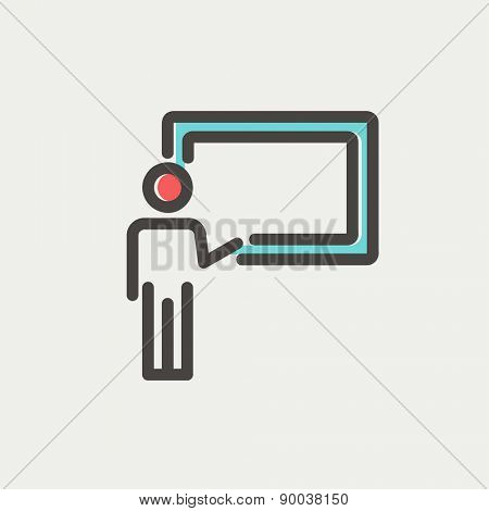 Professor in front of a blackboard icon thin line for web and mobile, modern minimalistic flat design. Vector icon with dark grey outline and offset colour on light grey background.
