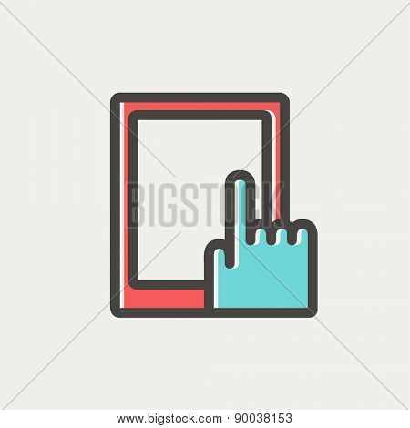 Tablet icon thin line for web and mobile, modern minimalistic flat design. Vector icon with dark grey outline and offset colour on light grey background.