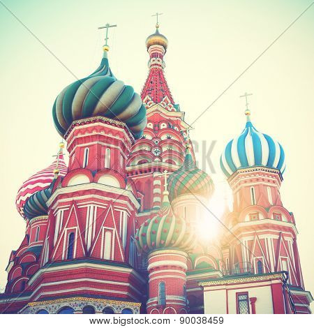 Cathedral on Red Square in Moscow. Instagram style filtred image
