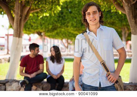Blond Guy At A University