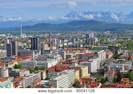 Aerial view of Slovenian capital Ljubljana